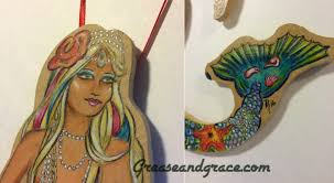custom mermaid ornament now available grease and grace cards