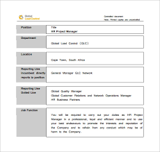 project manager job description template 10 free word pdf