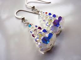 clear and silver tree earrings swarovski