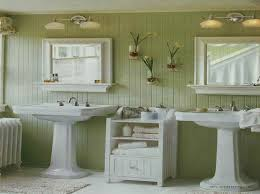 amazing vintage bathroom decors added two pedestal sink added wall