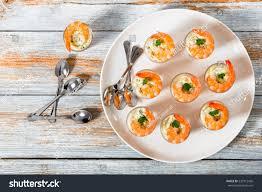 shotglass shrimp tartar sauce easy cocktail stock photo 535915426
