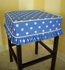 bar chair covers square barstool slipcover blue dots bar stool cover style on