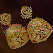 bridal jhumka earrings j9534 peacock design broad heavy style bridal jhumka