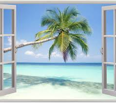 window 3d beach view flowers sea wall stickers art mural decal beach scene wall stickers wall murals you ll love