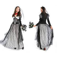halloween costume womens black skeleton bride vampire witch queen costume dresses halloween