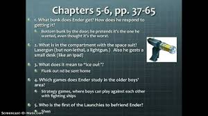 ender u0027s game chapters 3 6 study guide questions youtube