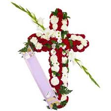 funeral cross with flowers for urgent delivery to cemeteries or