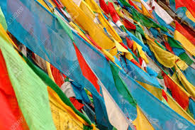 Stock Feather Flags View Of Colorful Buddhist Prayer Flags In Tibet Stock Photo