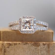 princess cut engagement rings with halo halo princess cut engagement ring with split shank band in