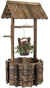 Wishing Well Garden Decor Garden Wooden Bespoke 6 Sideded Wishing Well Planter Ayk World