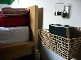 Wall Mounted Nightstand Bedside Table Side Table A Basket On The Wall And A Glass Holder Wall Mounted