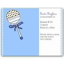 baby gift registries baby shower rattle blue registry cards paperstyle