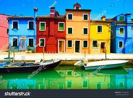 venice landmark burano island canal colorful stock photo 175442519