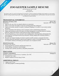 cover letter sle resume cover letter zoo zookeeper resume skills assistant