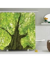 shower curtain big majestic tree print for bathroom