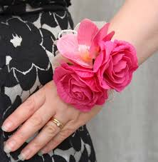 Red Rose Wrist Corsage Artificial Cerise Rose And Silk Orchid Wrist Corsage Sarah U0027s Flowers