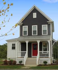 vinyl siding styles exterior farmhouse with red front door front