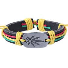 leather leaf bracelet images Rasta colors weed leaf genuine leather bracelet allthingscharmed jpg