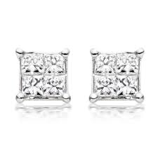 diamond stud earrings uk 18ct white gold diamond stud earrings 0005207 beaverbrooks the