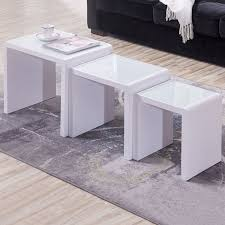 white nest of tables nest of 3 tables coffee table white white glass side end living