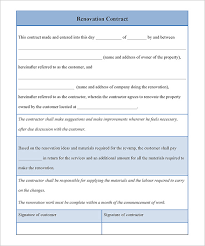 3 renovation contract templates u2013 free word pdf format download