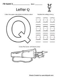 read color and write the alphabet q ukg worksheets english