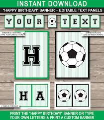 soccer party banner template happy birthday banner editable