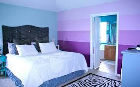 Blue Purple Bedroom - stunning design of blue wall color ideas with brown wooden bed and