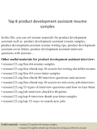 top 8 product development assistant resume samples 1 638 jpg cb u003d1431471228