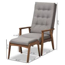 Modern High Back Wing Chair Baxton Studio Roxy Mid Century Modern Walnut Wood Finishing And