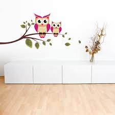 autocollant chambre fille sticker hiboux sur branche stickers center