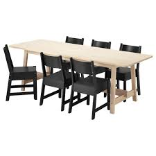 dining room sets ikea norr ker norr ker table and 6 chairs white birch black length 86 5