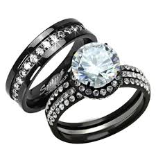 titanium engagement rings images St1870 3816a black stainless steel titanium his her 39 s 3pc JPG