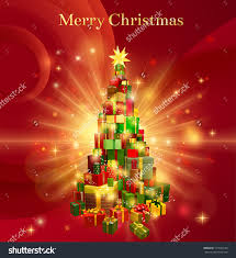 a red background design with stack or pile of christmas gifts