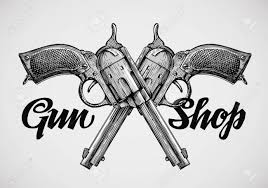 hand drawn vintage guns crossed pistols vector illustration