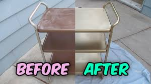 how to refinish a vintage metal cosco tea cart bar cart utility