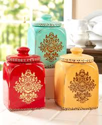 asian inspired canister set kitchen ceramic floral print detail