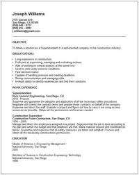 Construction Resume Samples Construction Superintendent Resume Templates Resume Sample