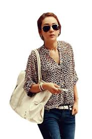 chiffon blouses for fashion shirt leopard print chiffon blouse 3 4 sleeve v neck