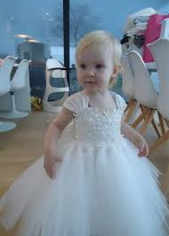 tulle lace tutu flower dress poofy birthday party gown cap