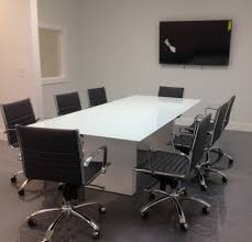 White Glass Computer Desk by Modern Custom Conference Tables With Pure White Glass
