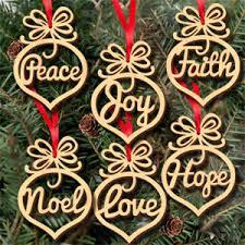 6 pcs decorations wooden ornament tree hanging