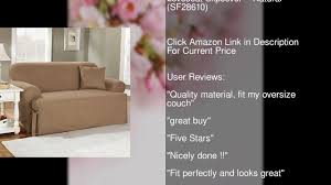 T Cushion Loveseat Slipcover Sure Fit Duck Solid T Cushion Loveseat Slipcover Natural Youtube