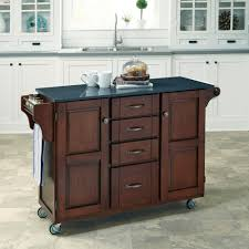 home styles create a cart cherry kitchen cart with black granite