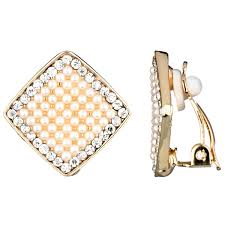 s diamond earrings aideen s gold diamond shape imitation pearl and rhinestone clip on