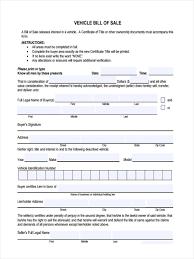Generic Vehicle Bill Of Sale Form 7 generic bill of sale form sample free sample example format