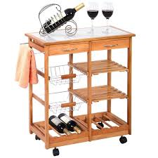 amazon com portable rolling wooden kitchen trolley cart