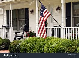 American House Flag Front Porch White Colonial Home Black Stock Photo 146530919