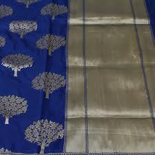 Buy Royal Blue Pure Silk Royal Blue Pure Silk Georgette Banarasi Handloom Saree Tilfi