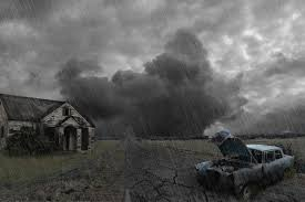 Landscape Old Building Old Car Road Storm Wallpapers Hd